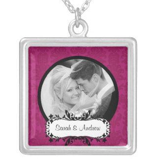 Wedding Necklace Photo Black Pink Damask Pendant