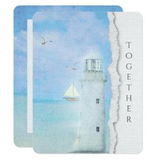 wedding-ocean lighthouse and sailboat card