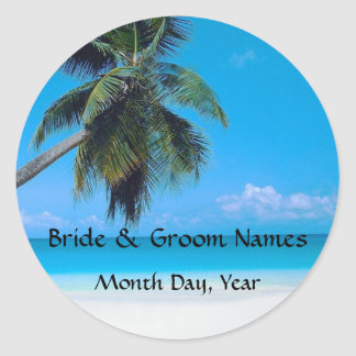 Wedding on the Beach Classic Round Sticker