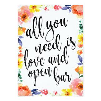 Wedding open bar affordable boho floral sign card