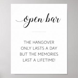 Wedding Open Bar Hangover Sign - Alejandra