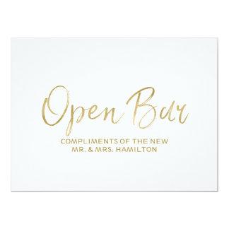 "Wedding ""Open Bar"" Sign | Stylish Golden Card"