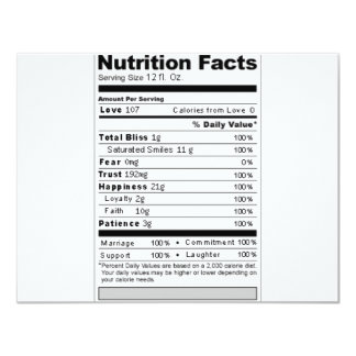 """Wedding or Anniversary Sweet Funny Nutrition Label 4.25"""" X 5.5"""" Invitation Card"""