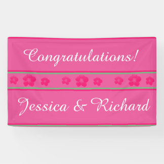 Wedding or Engagement Party Banner Bright Pink