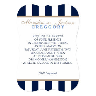 Wedding or Event Invitation Navy Blue & White
