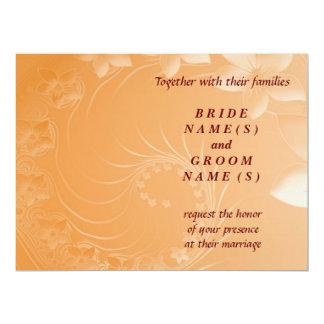 Wedding - Orange Abstract Flowers Invitation