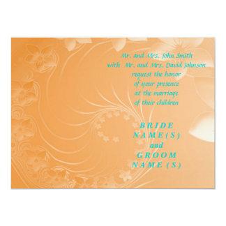 "Wedding - Orange Abstract Flowers 6.5"" X 8.75"" Invitation Card"