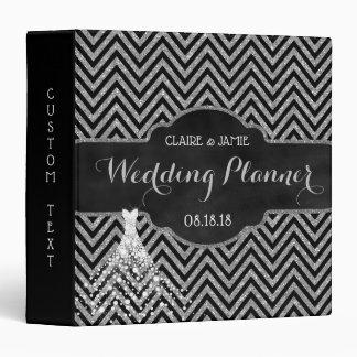 Wedding Organizer Black Silver Glitter Chevrons 3 Ring Binders