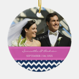 Wedding Ornament Favor Blue Hot Pink Chevron