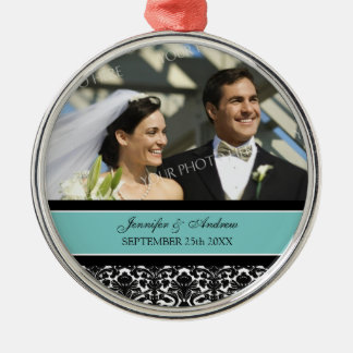Wedding Ornament Favor Teal Black Damask