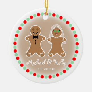 Wedding Ornament - Gingerbead Bride & Groom