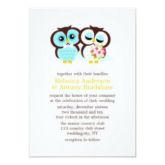 Wedding Owls 5x7 Paper Invitation Card