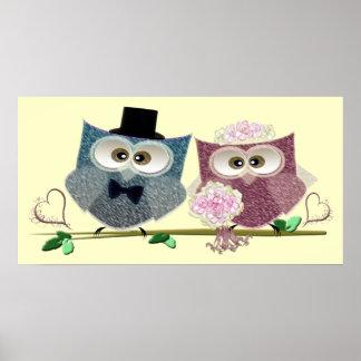 Wedding Owls Art Poster