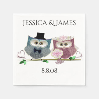 Wedding Owls Personalize Paper Napkin