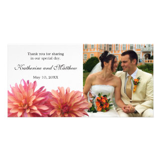 Wedding Painted Pink and Coral Dahlia Flower Photo Card Template
