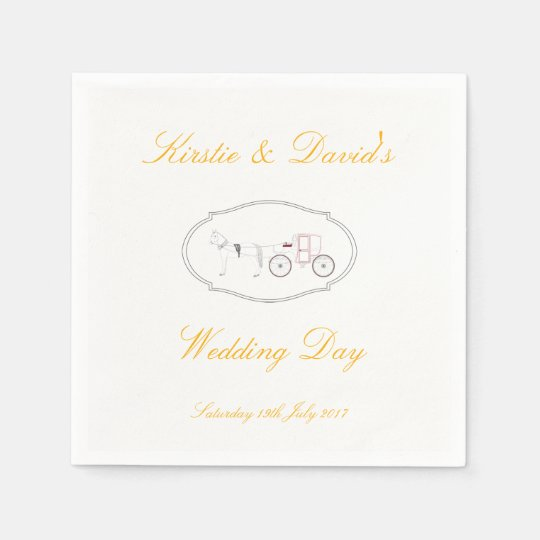 Wedding Paper Cups with Horse & Carriage Graphic Paper Napkins