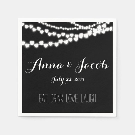 Wedding paper napkins Cocktail black string lights