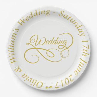Wedding Paper Plate Gold Frame & ornate graphic