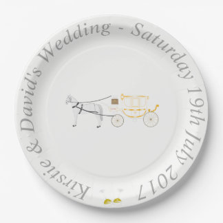 Wedding Paper Plate with Horse & Carriage