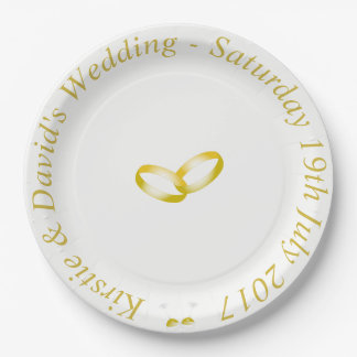 Wedding Paper Plate with joined Gold Rings Graphic