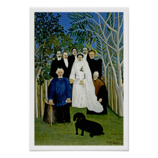 Wedding Party and a Prominent Dog - by Rousseau Poster