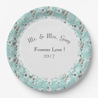 Wedding-Party--Anniversary-Template_Blue-Floral 9 Inch Paper Plate