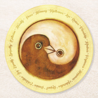 WEDDING PARTY COASTER. Gold YinYang doves Round Paper Coaster