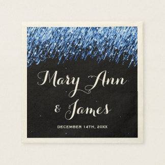 "Wedding Party Falling Stars ""Sapphire Blue"" Paper Napkins"