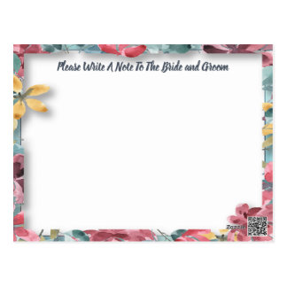 Wedding Party Guest Congratulations,Wishes,Advice Postcard