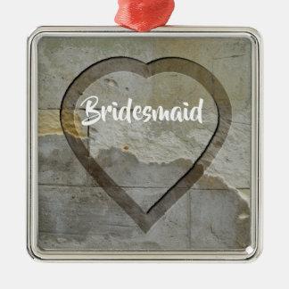 Wedding Party Keepsakes Stone Heart Metal Ornament