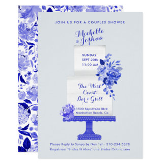 Wedding Party Names Cake Topper Blue Floral Card