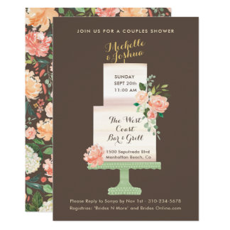Wedding Party Names Cake Topper Watercolor Floral Card