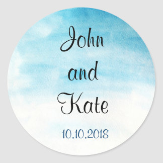 Wedding party  on blue watercolor background classic round sticker
