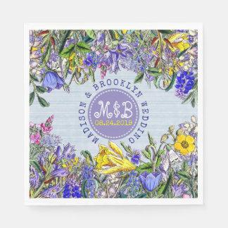 Wedding Party Wildflowers Monogram Vintage Floral Paper Napkin