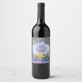 Wedding Party Wildflowers Monogram Vintage Floral Wine Label