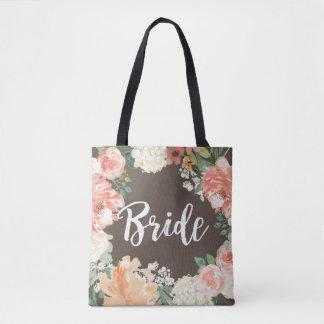 Wedding Peach Blush Watercolor Floral Bride Tote Bag