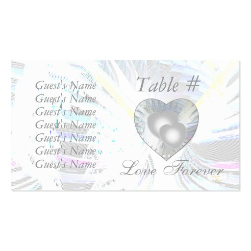 Wedding Pearlized Hearts Place & Thank You Card Business Card Templates