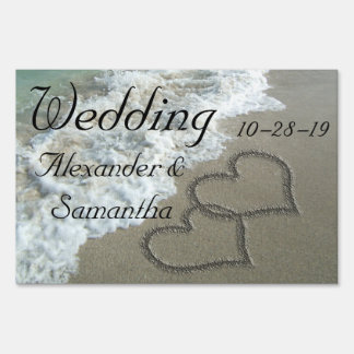 Wedding Personalized Beach Hearts Sign