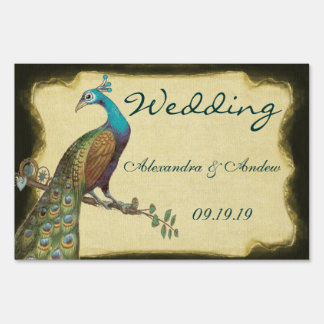 Wedding Personalized Love Bird Peacock Lawn Sign