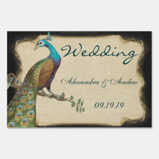 Wedding Personalized Love Bird Peacock Yard Sign