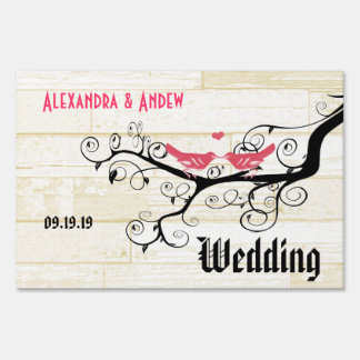 Wedding Personalized Love Bird Yard Sign