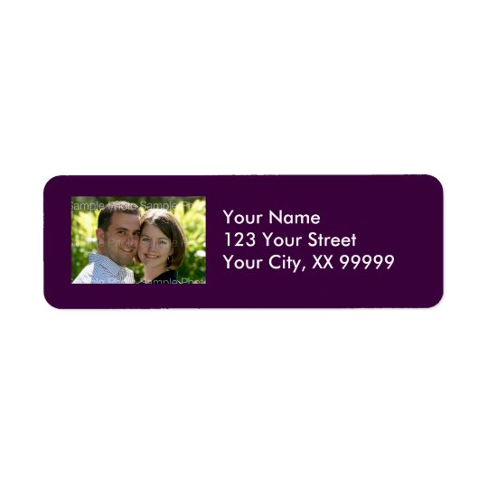 Wedding Photo Address Labels in Purple