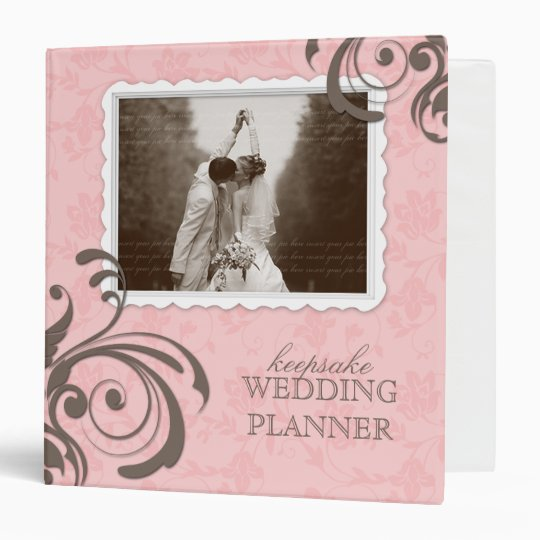 Wedding Photo Album Floral Pink Brown 3 Ring Binder