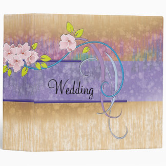 Wedding Photo Album Tan Purple Abstract Binder