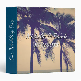 Wedding photo album with vintage palm tree photo 3 ring binders