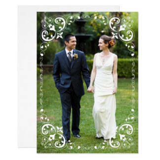 Wedding Photo Border White Scrolls | Thank You Card