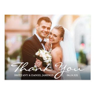 Wedding Photo Bride & Groom Thank You Postcard