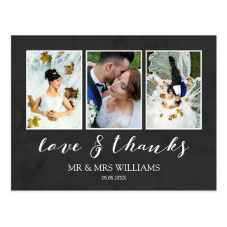 Wedding Photo Collage | Charcoal Love & Thanks Postcard