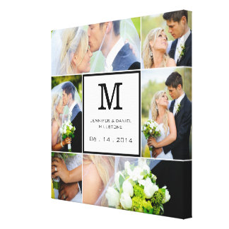 Wedding Photo Collage Template With Monogram Gallery Wrapped Canvas