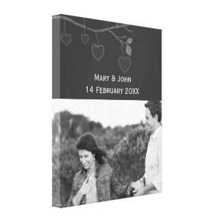 Wedding photo custom text in black and white canvas print